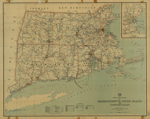 Post Route Map of Massachusetts, Rhode Island, and Connecticut (1946) from the University of Connecticut Libraries