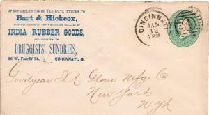 1882 cincinnati '4' duplex cancel on mfg cvr